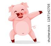 cute pig dabbing. vector... | Shutterstock .eps vector #1287142705