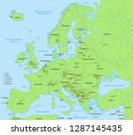 europe map  detailed  with... | Shutterstock .eps vector #1287145435