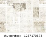 newspaper with old unreadable... | Shutterstock . vector #1287170875