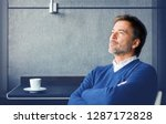handsome man lost in thought....   Shutterstock . vector #1287172828