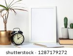 a white desk at home with... | Shutterstock . vector #1287179272