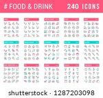 big collection of linear icons. ... | Shutterstock .eps vector #1287203098