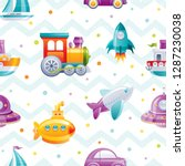 cartoon toy transport seamless... | Shutterstock .eps vector #1287230038