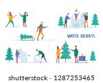 man and woman playing snowballs ... | Shutterstock .eps vector #1287253465