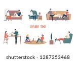 people at home leisure or... | Shutterstock .eps vector #1287253468