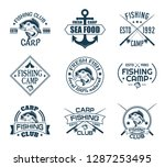 set of isolated icons with fish ... | Shutterstock .eps vector #1287253495