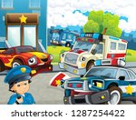 cartoon scene with police chase ... | Shutterstock . vector #1287254422
