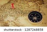 single red pushpin marking a...   Shutterstock . vector #1287268858