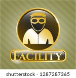 gold badge with thief icon and ... | Shutterstock .eps vector #1287287365