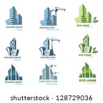 Building icon set. Abstract architecture | Shutterstock vector #128729036