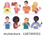 happy people eating pie and... | Shutterstock .eps vector #1287309352