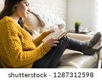 side view of pretty woman... | Shutterstock . vector #1287312598