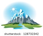 adventure,alps,arctic,background,banner,blue,day,design,drawing,emblem,frame,grass,green,high,ice