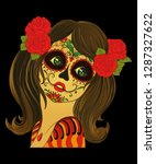 day of the dead girl  | Shutterstock . vector #1287327622