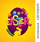 happy easter logo colorful... | Shutterstock .eps vector #1287328195