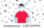 kid boy with protection mask... | Shutterstock .eps vector #1287329995