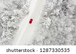 Red Car Driving On A Snow...