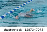 man swimming in a pool | Shutterstock . vector #1287347095