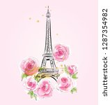 eiffel tower on the pink... | Shutterstock .eps vector #1287354982