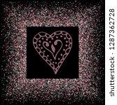 rose gold glitter heart frame.... | Shutterstock .eps vector #1287362728