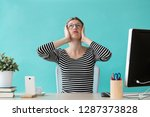 shot of stressed young woman... | Shutterstock . vector #1287373828