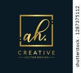 letter ah logo initial. gold...   Shutterstock .eps vector #1287375112