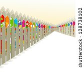 bright fence among the gray. a... | Shutterstock .eps vector #128738102