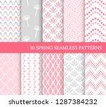 ten spring seamless patterns....   Shutterstock .eps vector #1287384232