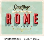 vintage touristic greeting card ... | Shutterstock .eps vector #128741012