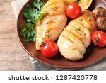 plate with fried chicken...   Shutterstock . vector #1287420778