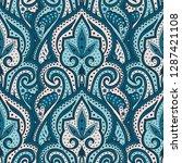indian paisley pattern vector... | Shutterstock .eps vector #1287421108