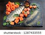 mackerel  salmon pieces. laid... | Shutterstock . vector #1287433555