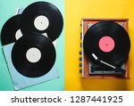 retro style vinyl record player ... | Shutterstock . vector #1287441925