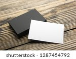 business card blank on wooden... | Shutterstock . vector #1287454792