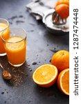 summer drink. fresh orange... | Shutterstock . vector #1287474448