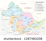 vector map of the great lakes... | Shutterstock .eps vector #1287483208