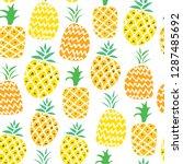 pineapple vector seamless... | Shutterstock .eps vector #1287485692