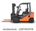 idle forklift isolated on white ... | Shutterstock . vector #1287492478