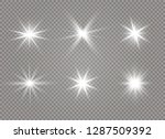 white glowing light explodes on ... | Shutterstock .eps vector #1287509392