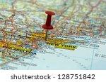 Push Pin Pointing At New York ...