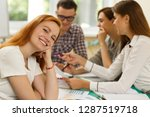 side view of happy red haired... | Shutterstock . vector #1287519718