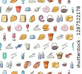 cheeses  cutlery  drinks ... | Shutterstock .eps vector #1287522178