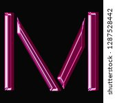 shiny pink glass letter m in a... | Shutterstock . vector #1287528442