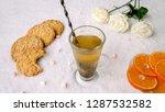 hot drink  green tea with... | Shutterstock . vector #1287532582