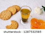 hot drink  green tea with... | Shutterstock . vector #1287532585