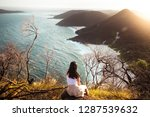 mountain top with ocean view... | Shutterstock . vector #1287539632