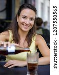 closeup woman drinking ice cola ... | Shutterstock . vector #1287558565