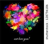 colorful paint splash art... | Shutterstock .eps vector #128756186