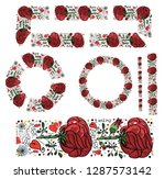 set of two floral wreaths ... | Shutterstock .eps vector #1287573142