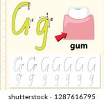 letter g tracing alphabet...   Shutterstock .eps vector #1287616795
